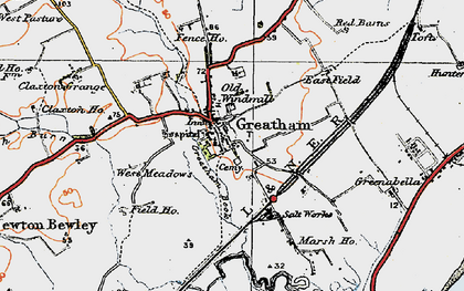 Old map of Greatham in 1925