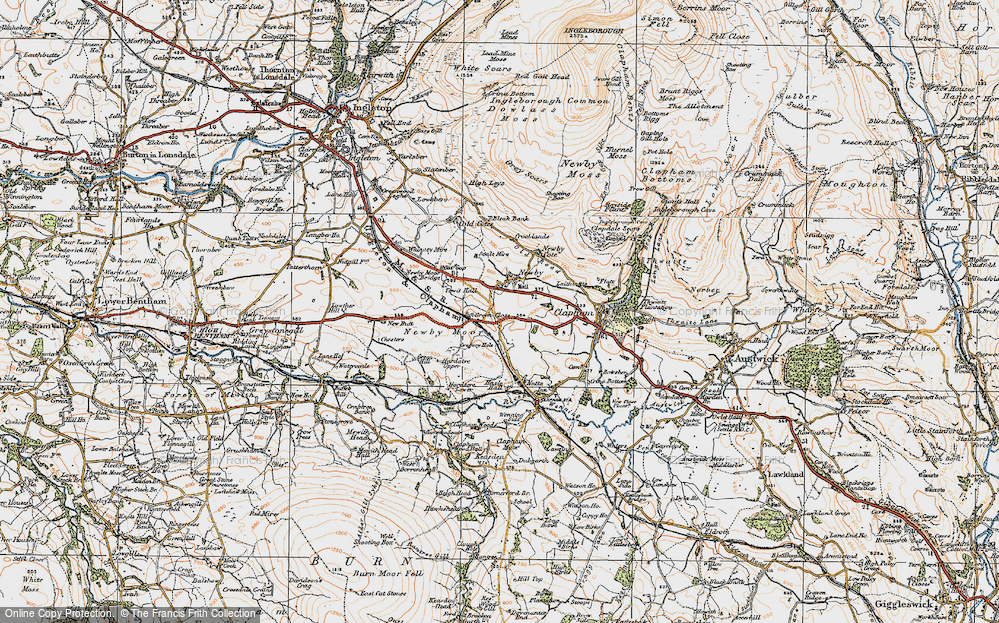 Old Map of Historic Map covering Newby Moor in 1924