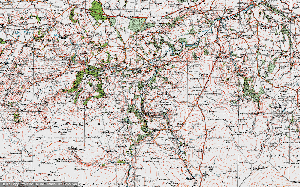 Old Map of Historic Map covering Beck Hole in 1925