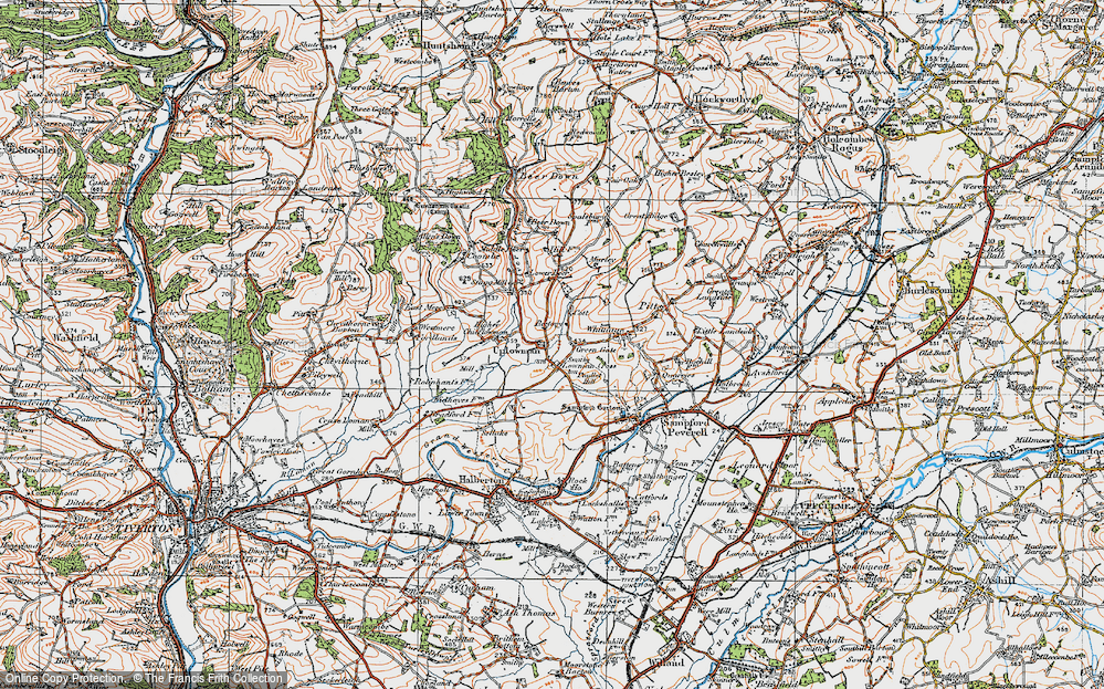Old Map of Historic Map covering Wood in 1919
