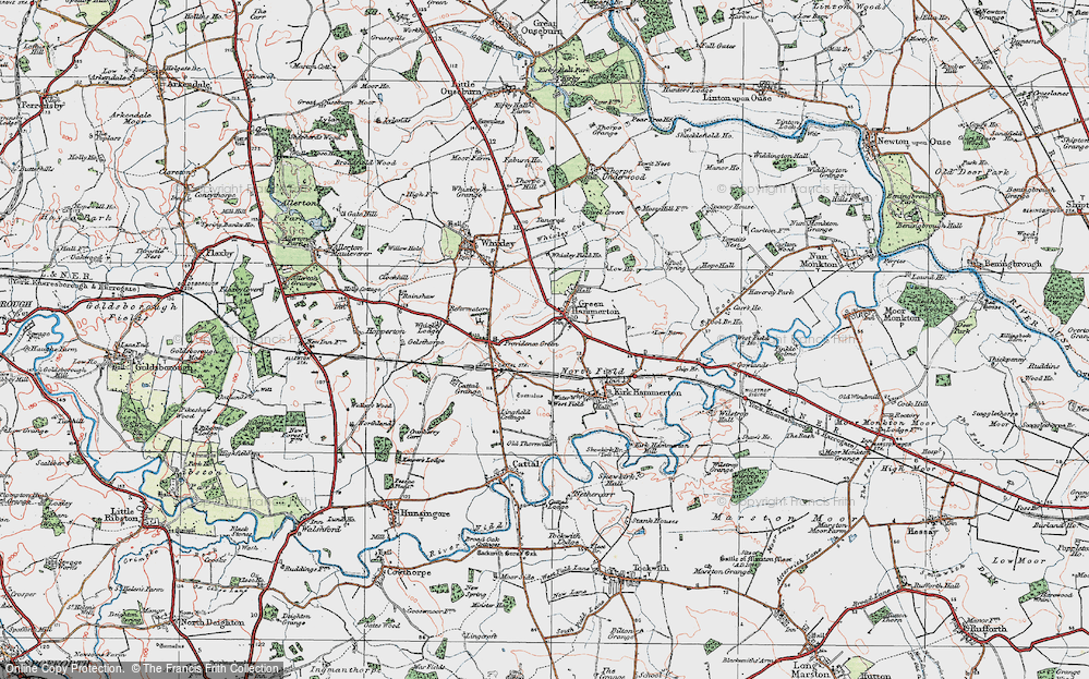 Old Map of Green Hammerton, 1925 in 1925
