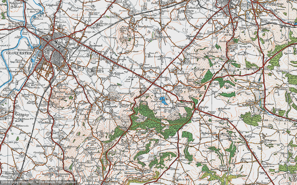 Old Map of Historic Map covering Gloucestershire in 1919