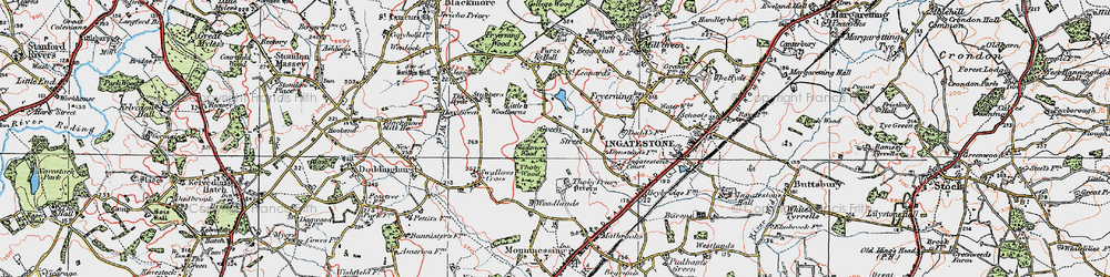Old map of Woodlands Farmhouse in 1920