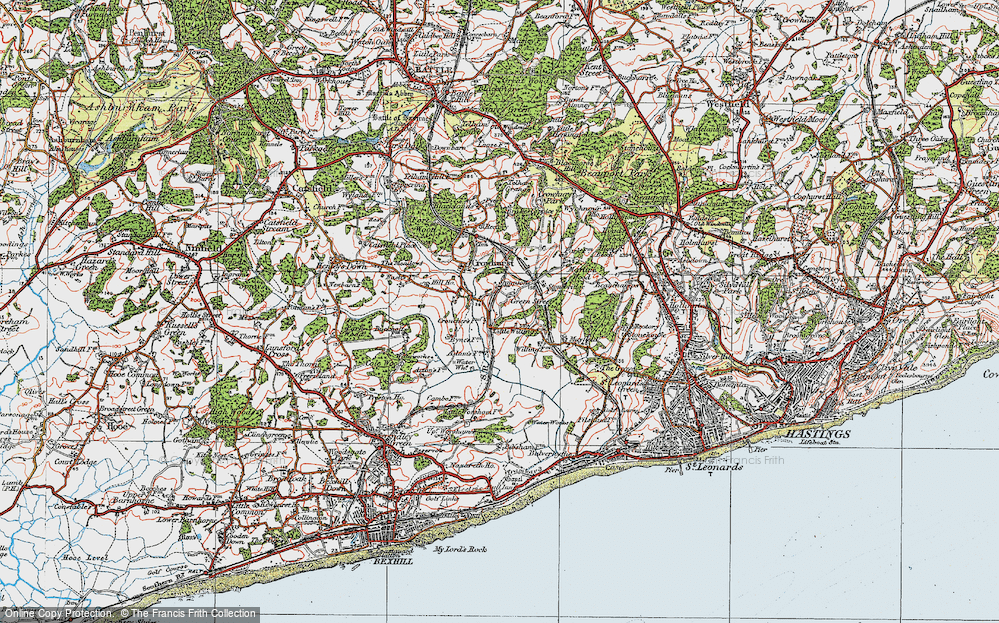 Old Map of Historic Map covering 1066 Country Walk Bexhill Link in 1921