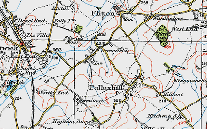 Old map of Greenfield in 1919