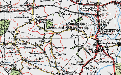 Old map of Greensted in 1920