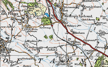 Old map of Ash Priors Common in 1919