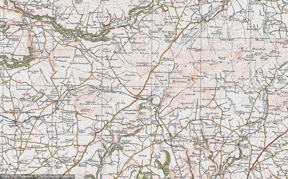 Old Map of Historic Map covering Banc Du in 1922