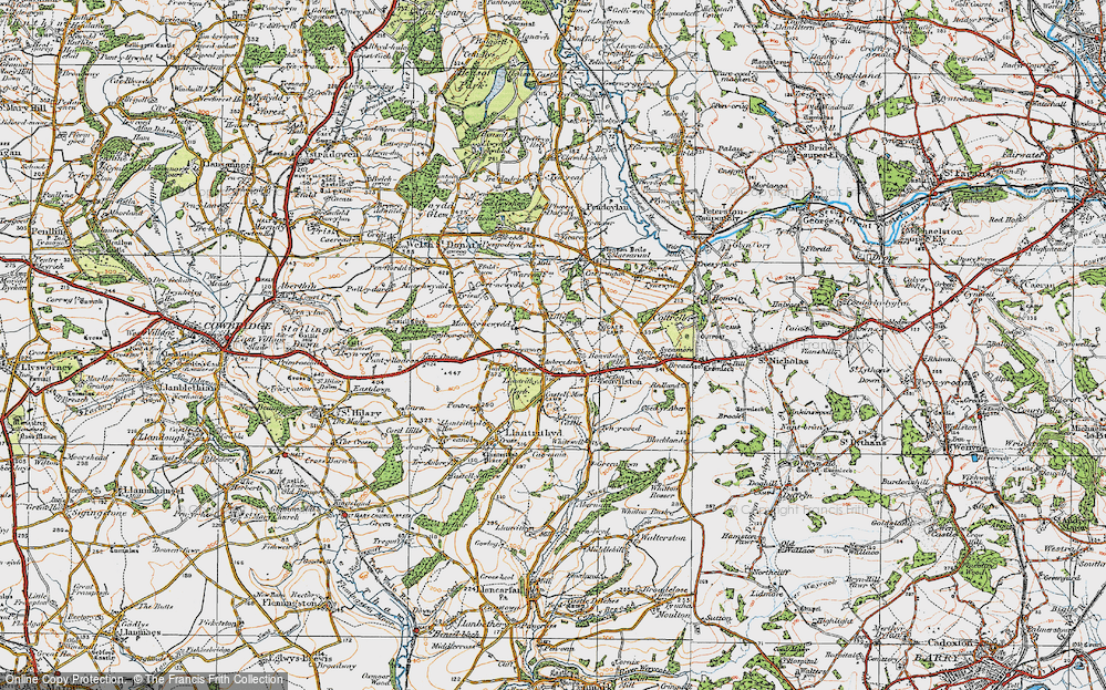 Old Map of Historic Map covering Lillypot in 1922