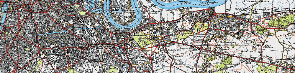 Old map of Greenwich in 1920
