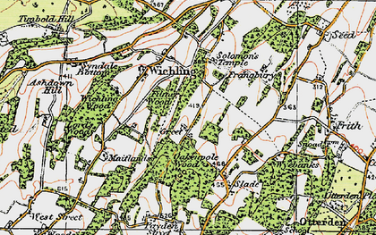Old map of Wichling Wood in 1921