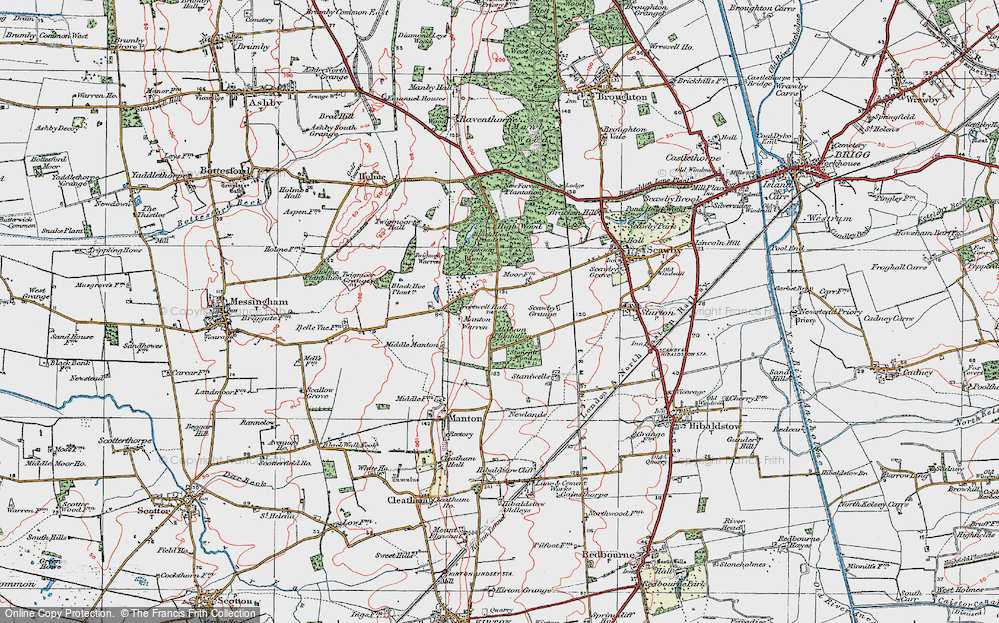 Old Map of Historic Map covering Aldham Plantn in 1923