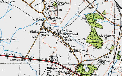 Old map of Grendon Underwood in 1919
