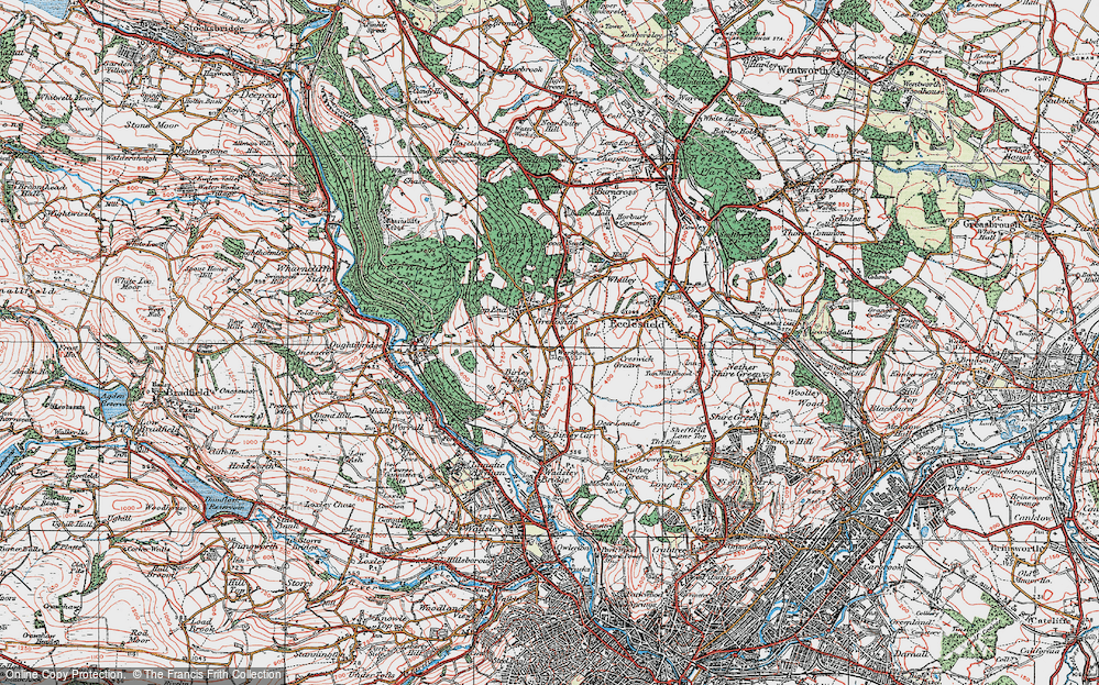 Old Map of Grenoside, 1923 in 1923