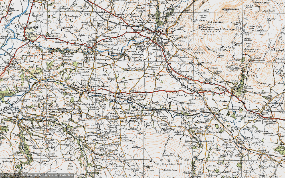 Old Map of Historic Map covering Langber in 1924