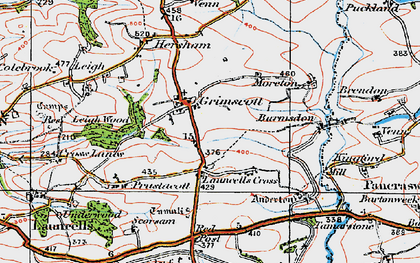 Old map of Grimscott in 1919
