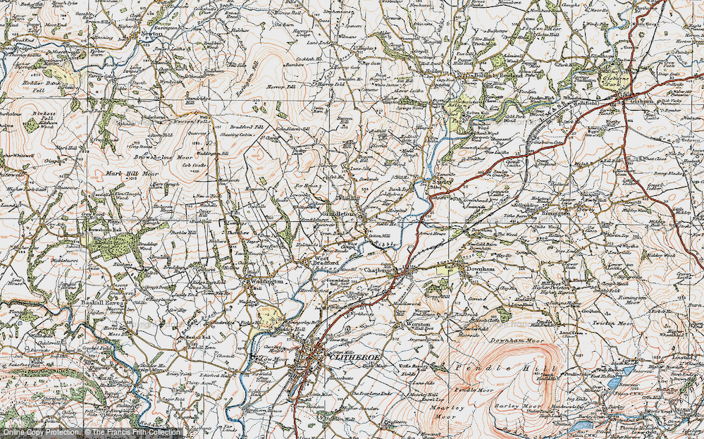 Old Map of Historic Map covering Asker Hill in 1924