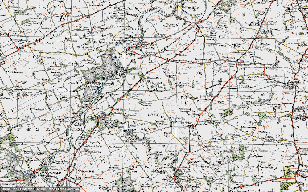 Old Map of Historic Map covering Toft Hill in 1926
