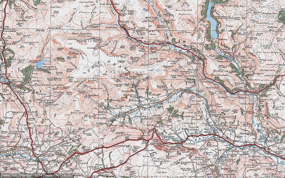 Old Map of Historic Map covering Wood Moor in 1923