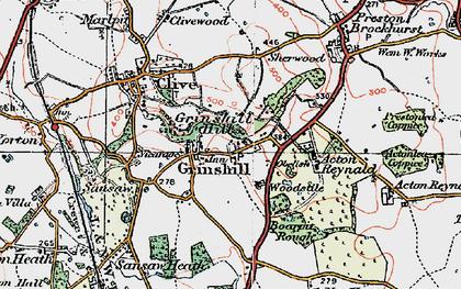Old map of Woodstile in 1921
