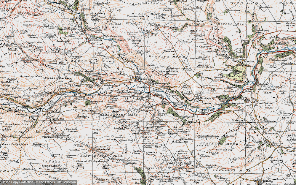 Old Map of Grinton, 1925 in 1925