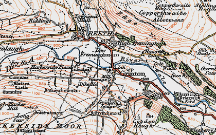 Old map of Grinton in 1925