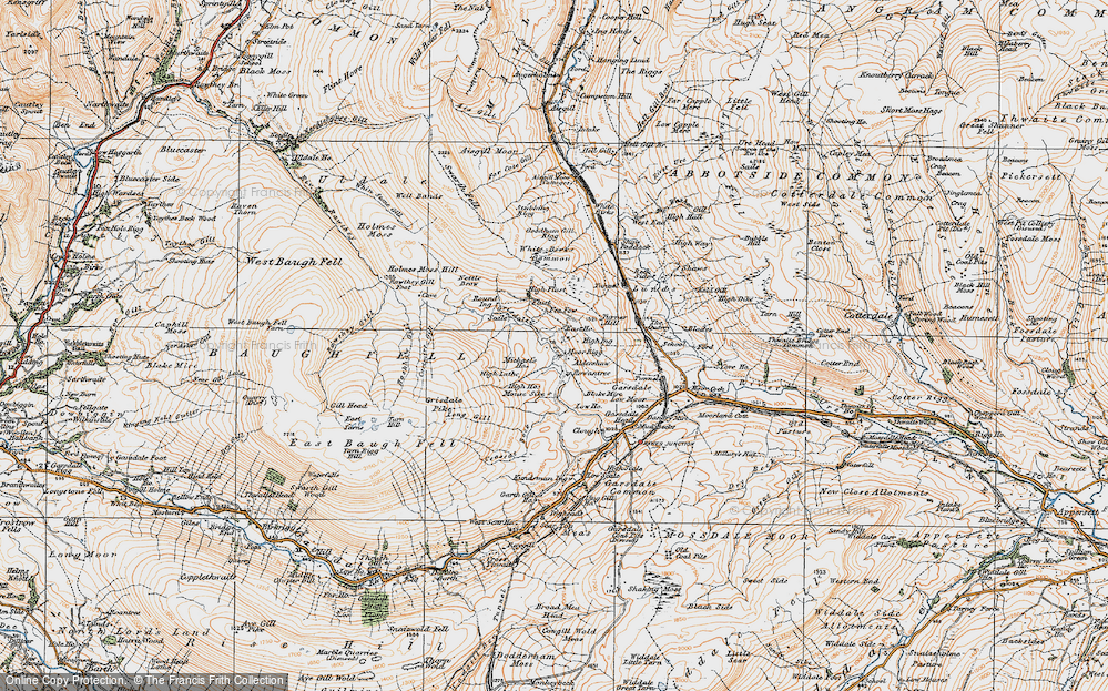 Old Map of Historic Map covering Aisgill Moor Cotts in 1925