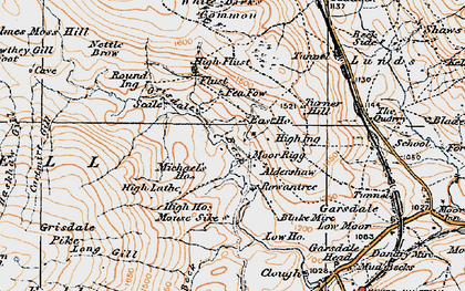 Old map of Aisgill Moor Cotts in 1925