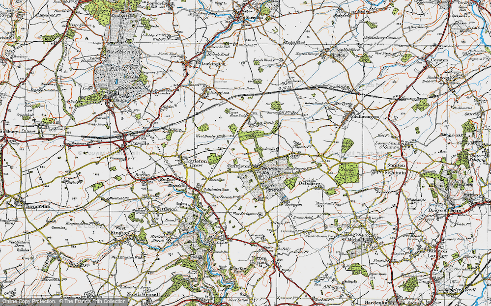 Old Map of Grittleton, 1919 in 1919