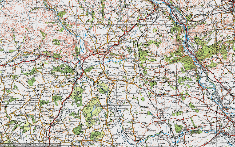 Old Map of Historic Map covering Mwyndy in 1922