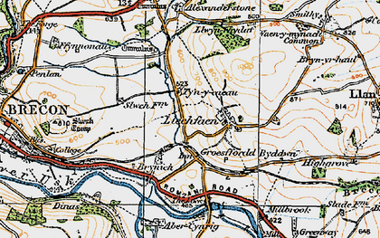 Old map of Abercynrig in 1923
