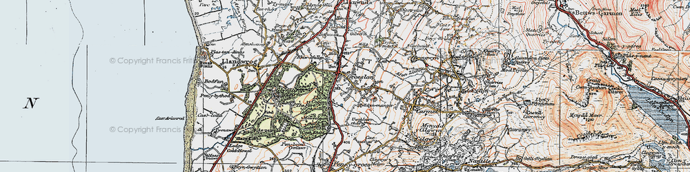 Old map of Groeslon in 1922