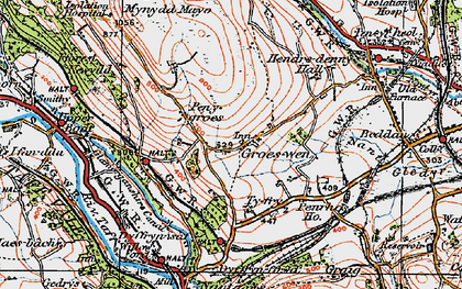 Old map of Groeswen in 1919