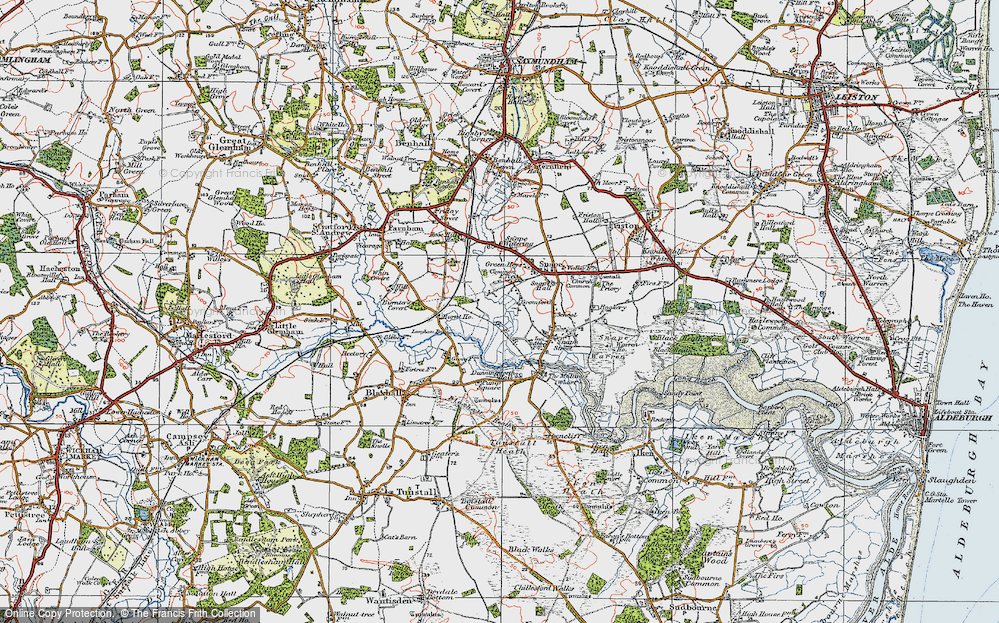 Old Map of Historic Map covering Langham Br in 1921