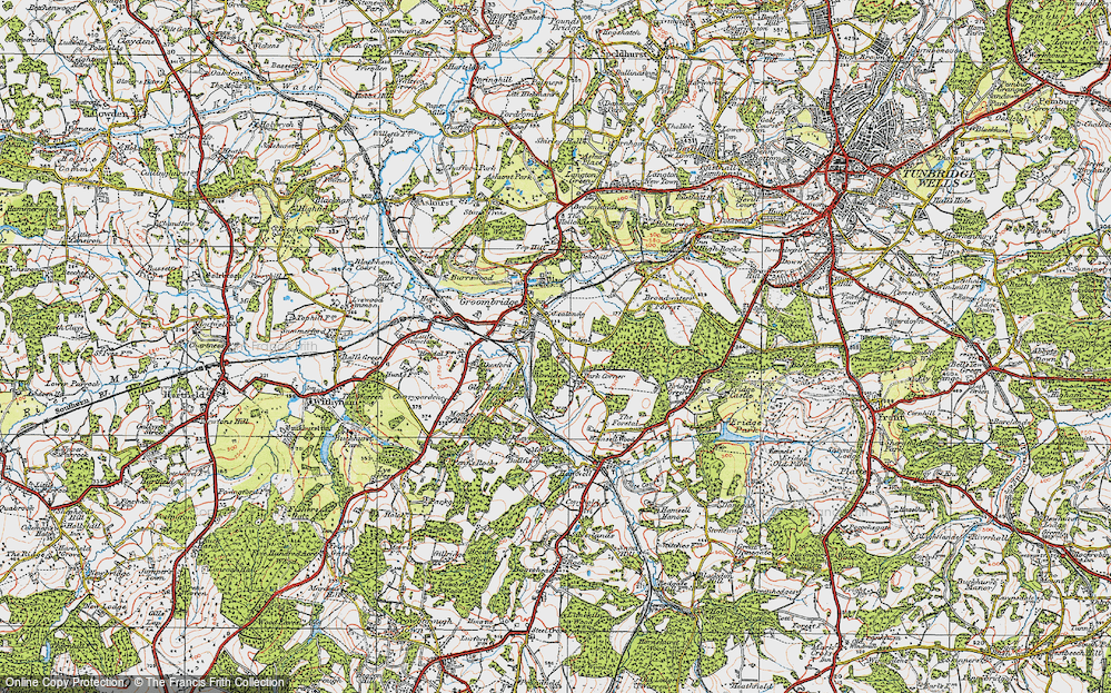 Old Map of Groombridge, 1920 in 1920