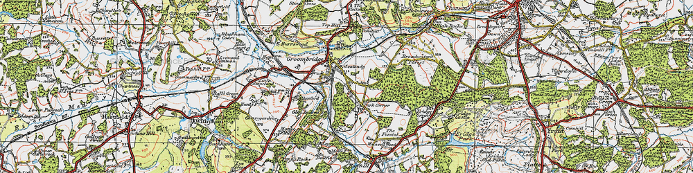 Old map of Groombridge in 1920
