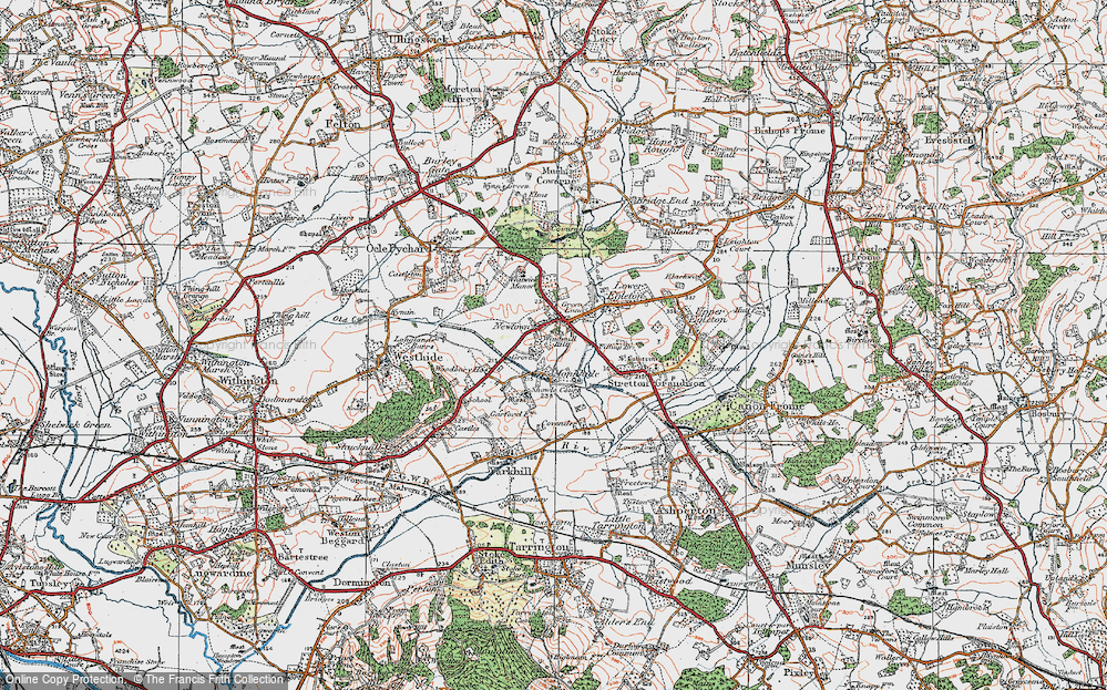 Old Map of Historic Map covering Woodbury in 1920