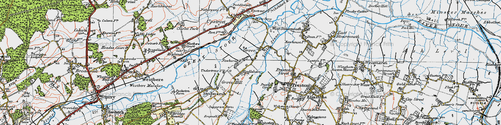 Old map of Grove in 1920