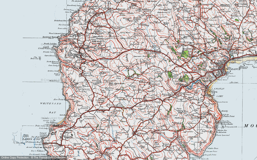 Old Map of Historic Map covering Leswidden in 1919