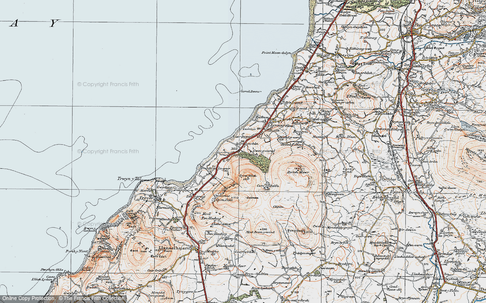 Old Map of Historic Map covering Afon Hen in 1922