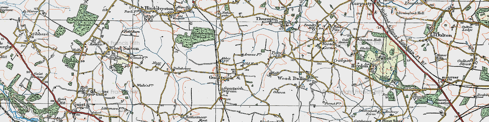 Old map of Wood Dalling Hall in 1921