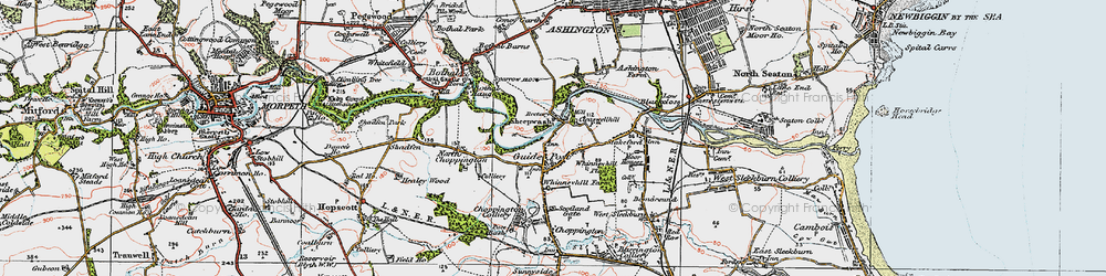 Old map of Guide Post in 1925
