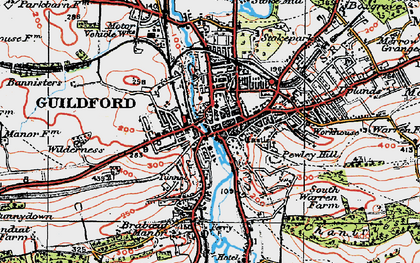 Old map of Guildford in 1920