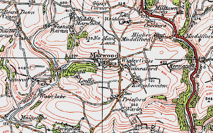 Old map of Wigley Cross in 1919