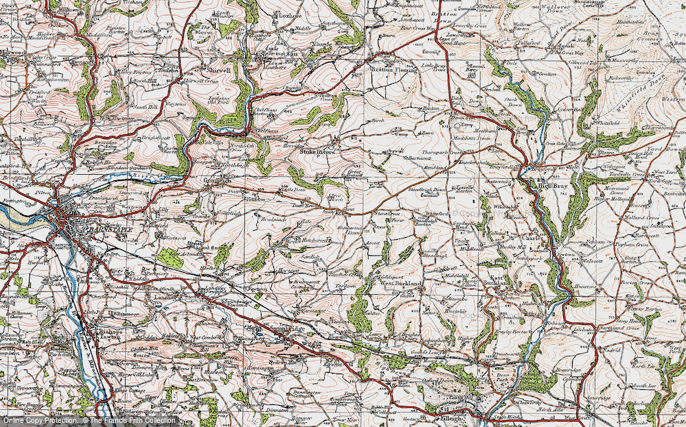 Old Map of Historic Map covering Whitsford in 1919