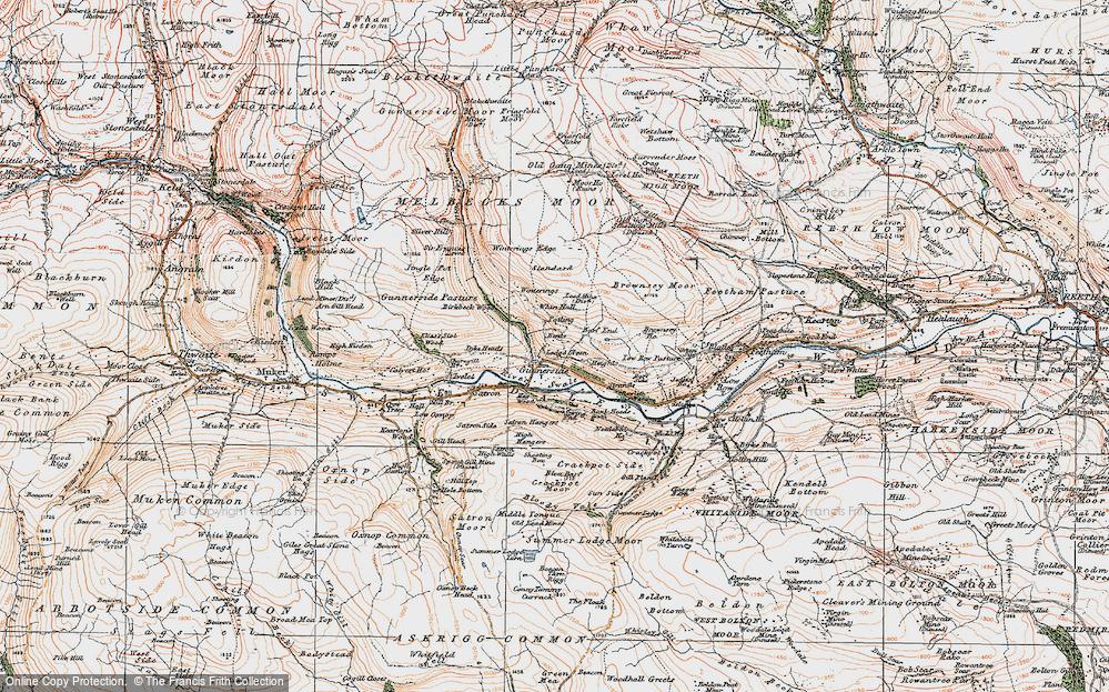 Old Map of Gunnerside, 1925 in 1925