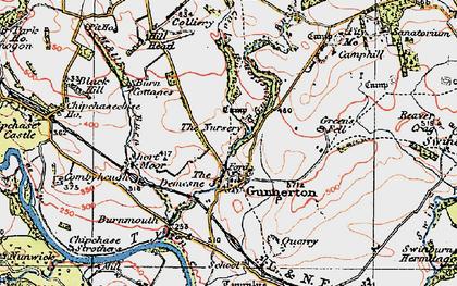 Old map of Gunnerton in 1925