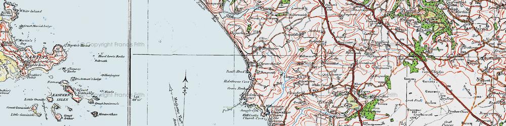 Old map of Gunwalloe in 1919