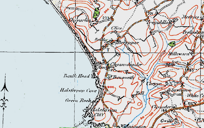 Old map of Gunwalloe Fishing Cove in 1919