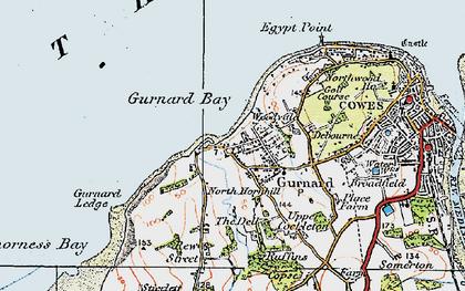 Old map of Gurnard in 1919